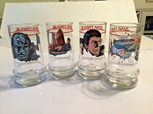 1984 Taco Bell Star Trek 3 Enterprise Destroyer Collectible Glass Cup Lot of 4
