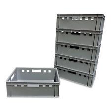 6 Stück E2 Stapelbox Gemüsekiste Vorratsbox Lagerbox lebensmittelecht grau NEU