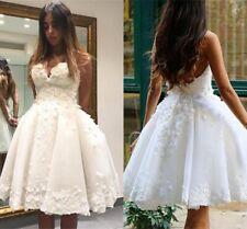 Mini Short Appliques Wedding Dresses White Ivory Ball Gown Girls Bride Custom