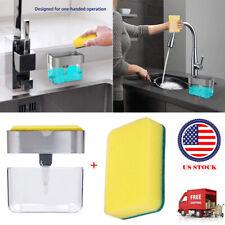2 in 1 Soap Dispenser Sponge Holder Countertop Soap Pump Dispenser With Sponge