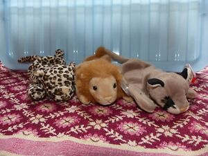 3 Big Cat Ty Beanie Babies