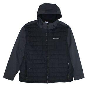 Columbia Mens Jacket Gray Black Size 2XL Colorblock Oyanta Puffer $150- 155