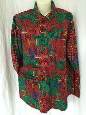 Button Front Shirt Ladies Geometric sz M Medium Maze vtg Grunge Indie print y6