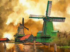 "perfect 36x24 oil painting handpainted on canvas""Windmill"" NO4225"