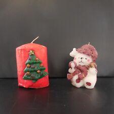 2 bougies de Noël sapin bonhomme de neige fait main vintage France