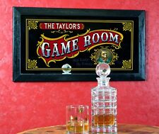 "Game Room Personalized Bar Mirror Sign Pub Office Man Cave Gift 13"" x 26"""