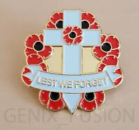 Remembrance Day Lest We Forget Poppy Cross Wreath Metal Lapel Pin Badge
