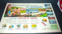 GREYHOUND BIG TWO PAGE AD  1952  IT'S TODAYS BEST BUY IN TRAVEL  CPICS