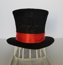 Top Hat Custom Black Topper Mad Hatter Red Satin Band Classic Victorian Size S