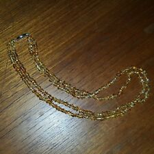 "Pre-owned Dbl Strand Necklace w Amber Color Nugget Beads 19"" Silvertone Clasp"