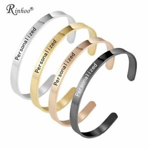 Personalized Custom DIY Cuff Bracelet & Bangle Engraved Name ID for Women Gift