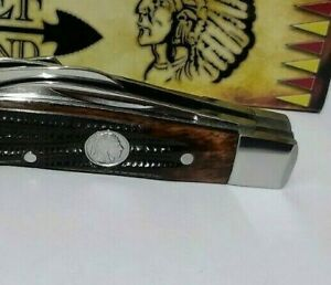WORM GROOVE CHIEF BRAND CONGRESS HUNTING POCKET KNIFE W/ INDIAN HEAD SHIELD !!!