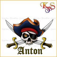 ♡♥ cooles Bügelbild Bügelbilder Hotfix  Pirat Skull Name 454 Transferfolie ♡♥