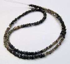 20 cts 2-3 mm natural Black Brown Rough raw diamond beads necklace16inc silver