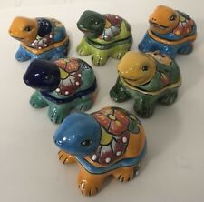 MEXICAN FOLK ART ~ TALAVERA Pottery FROG Trinket Box~ HAND PAINTED (Choose ONE)