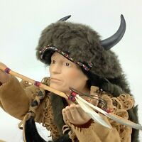 Native American Indian Doll Male Chief Sitting Buffalo Peace Pipe Porcelain