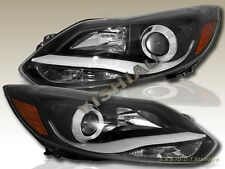 2012-2014 FORD FOCUS PROJECTOR HEADLIGHTS BLACK w/LED BAR PAIR NEW