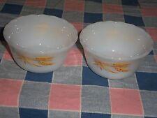 Two Fire King Wheat Pattern Custard Dishes  3 3/4 Inch Across