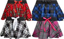 "Ladies Women 9"" , 12"" Inch Tartan Mini Check Skirt With Attractive Bow Size 8-18"
