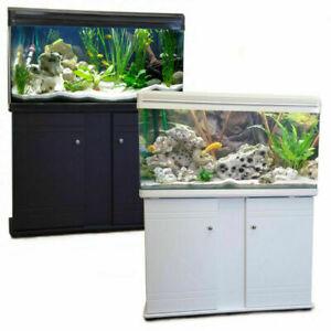 Fish Tank Cabinet Aquarium LED Lighting Filter Tropical Coldwater Black or White