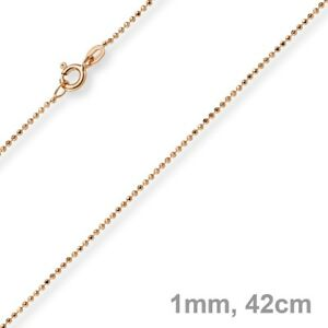 1mm Ball Necklace Diamond-Cut Gold Chain Necklace IN 585 Gold Rose Gold, 42cm