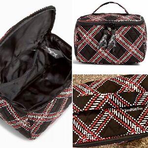 Vera Bradley Travel Cosmetic MINSK PLAID BLACK RED Makeup Jewelry Bag NWT New