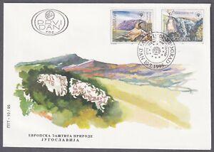 Yugoslavia, 1995, Nature and Environment Protection, Bat, Horned Lark, FDC