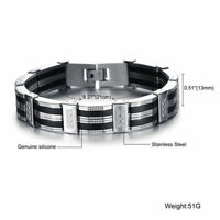 Neu Herren Luxus Armband Edelstahl schwarz silber 21 cm kürzbar Armreif Armkette