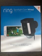 RING Spotlight Cam Black Wired Wi-Fi Motion Detection Siren Two-Way Talk Camera