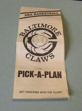 Original 1975 1976 Baltimore Claws ABA Basketball Team Schedule Ticket Plan Book