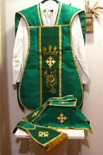 Green Fiddleback Chasuble with Embroidery Vestment Set+Veil,Maniple,Stole,Burse