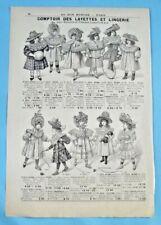 1905 Ancienne Publicité Gravure Modes Layettes et lingerie chapeau capeline robe