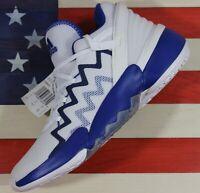 Adidas D.O.N. Donovan Mitchell Issue 2 White/Blue Mens Basketball Shoes [FX9430]