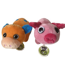 "Gund PBS Kids Plush Toys Orange Cow And Pink Pig Approx. 9x4x5"""