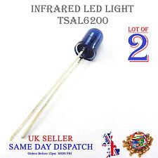 2x 940 µ IR LED Lámpara Azul 5 mm ir emisor tsal 6200 de alta potencia