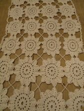 Vintage Hand Crocheted Doily/Doilies Table Runner Cream Dresser Scarf