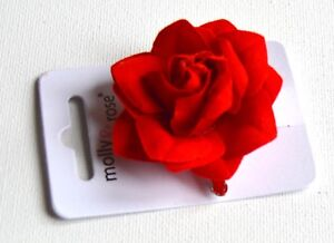 NEW Small red rose beak clip hair clip wedding festivals valentines day races UK