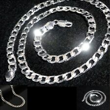 "Mens Polished 925 solid sterling silver filled  24"" long 8mm curb chain necklace"
