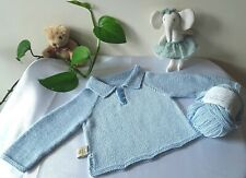 New Handknitted Polo Sweater In Blue