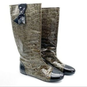 NWOT Marc by Marc Jacobs Green Croc Patent Leather Rain Boots Women's Size 6