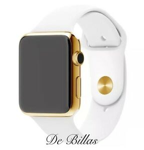 24K Gold Plated 42MM Apple Watch SERIES 2 with White Sport Band