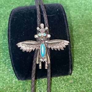 Vintage Sterling Silver Turquoise Stone Totem Bolo Tie Cowboy Western