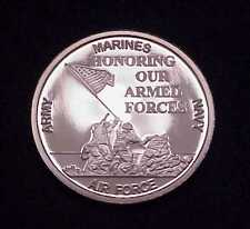 """""""IWO JIMA~HONORING OUR ARMED FORCES"""" 1 OZ .999 FINE SILVER ROUND (ORIG BOX)"""