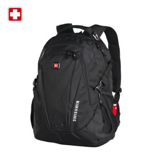 Swiss waterproof 15'' Laptop Backpack Travel School shoulder Bags SW9986 black