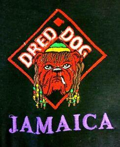 Vintage Dred Dog Jamaica Graphic T-Shirt Men's XL Black 100% Cotton Rare EUC