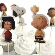 12x Peanuts Cupcake Food Cake TOPPER. Party Supplies Snoopy Charlie Brown Bag