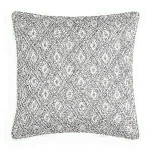 """Hudson Park Collection Beaded Embellished Geo 20"""" Decorative Pillow - Light Gray"""