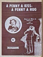 A Penny A Kiss A Penny A Hug - 1950 sheet music - Dinah Shore cover photo