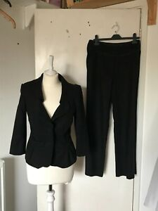 Laura Ashley black jacket and trouser suit size 10.  Pretty bow pocket detail.