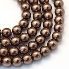 1 Strand 4mm Saddle Brown Pearl Glass Pearls 216 Beads